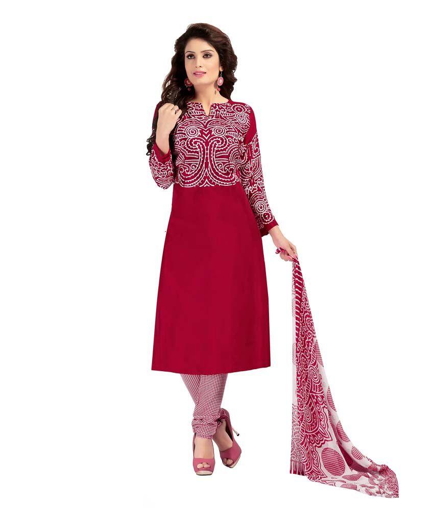 Khushali Red Art Crepe Unstitched Dress Material