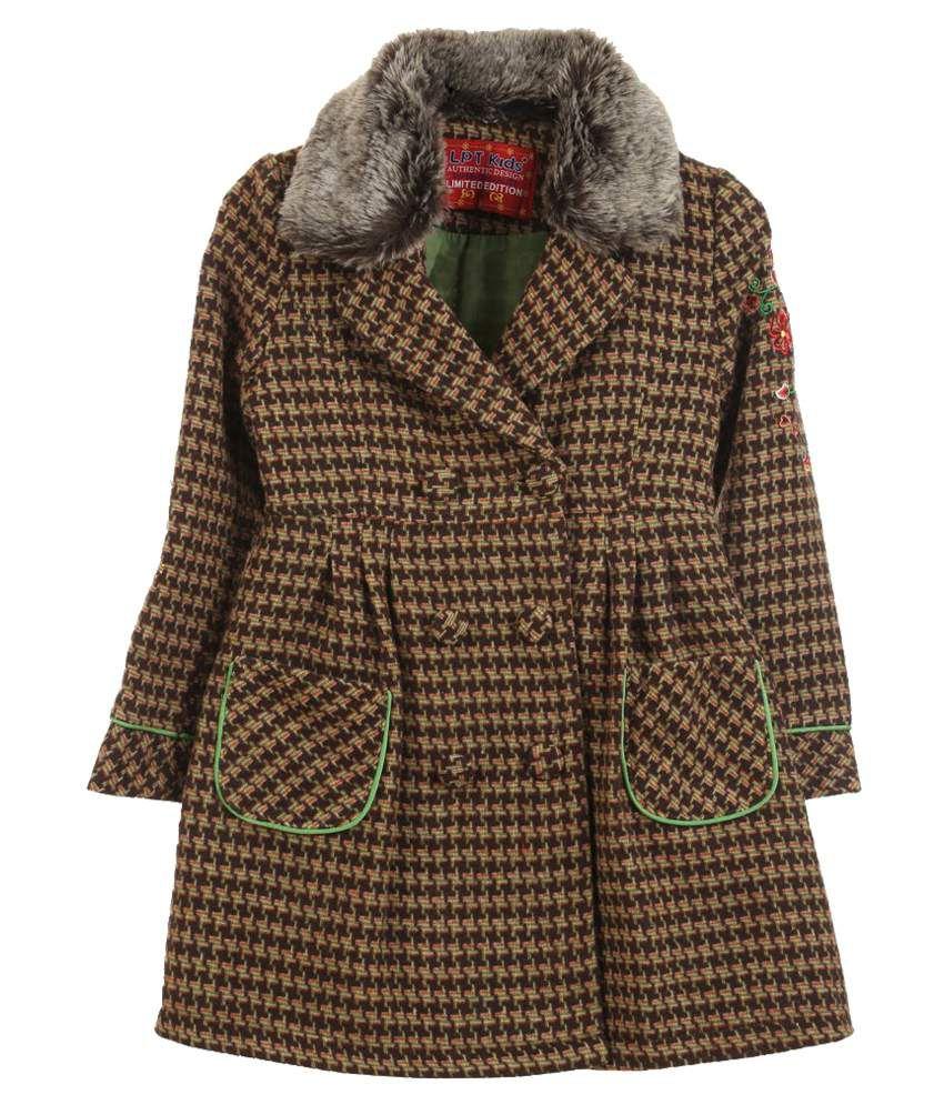 Lilliput Brown Houndstooth Checks Woolen Coat