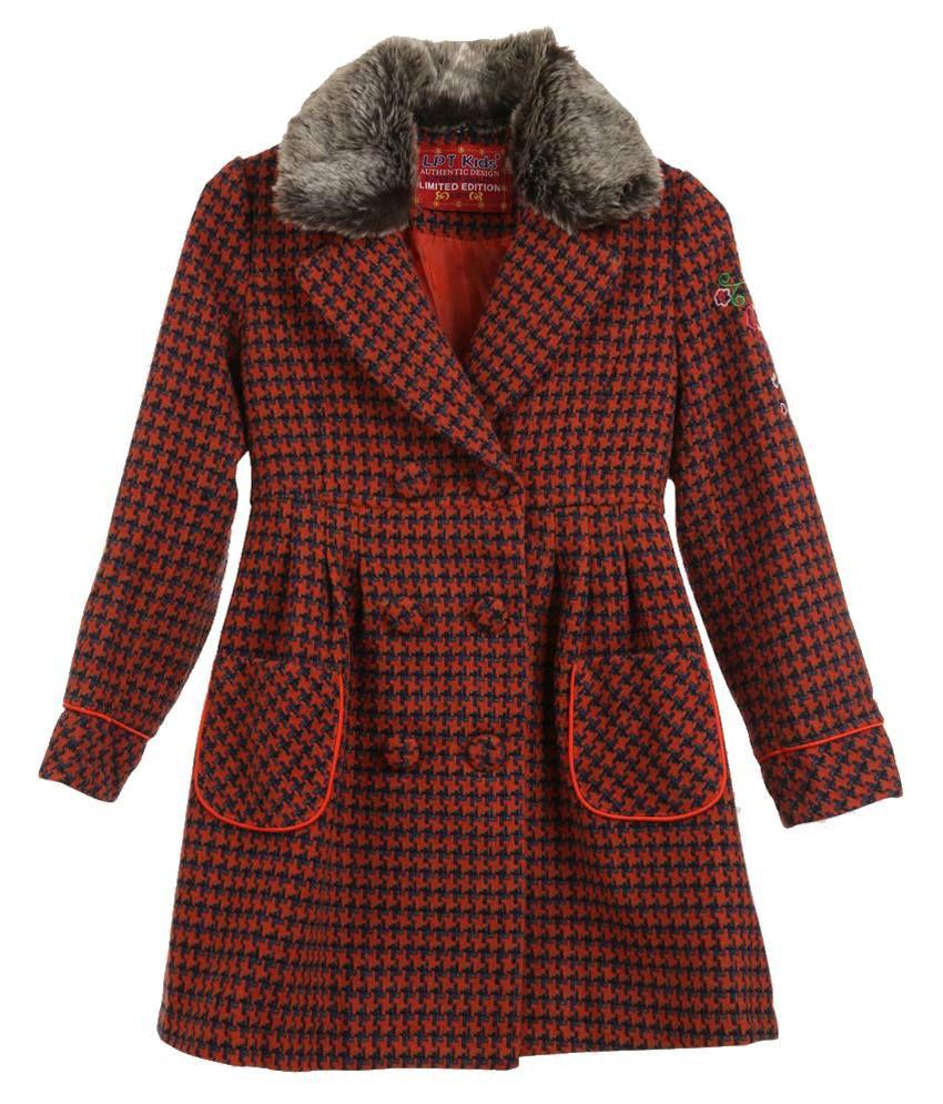 Lilliput Orange Houndstooth Checks Woolen Coat