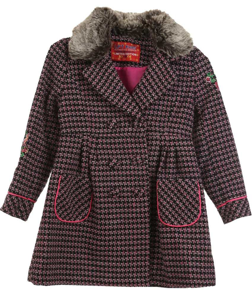 Lilliput Pink And Black Houndstooth Checks Woolen Coat