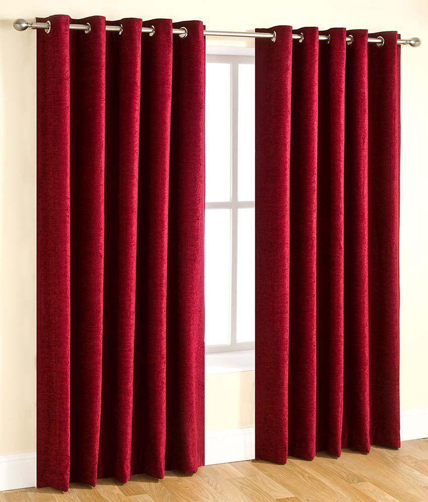 Tanishka Fabs Single Door Eyelet Curtain Floral Red