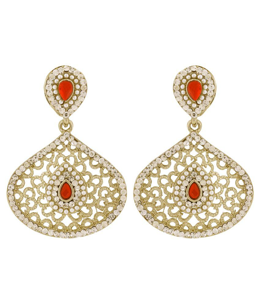 The Jewelbox Filigree Pear Red Antique Rhodium Dangling Earring