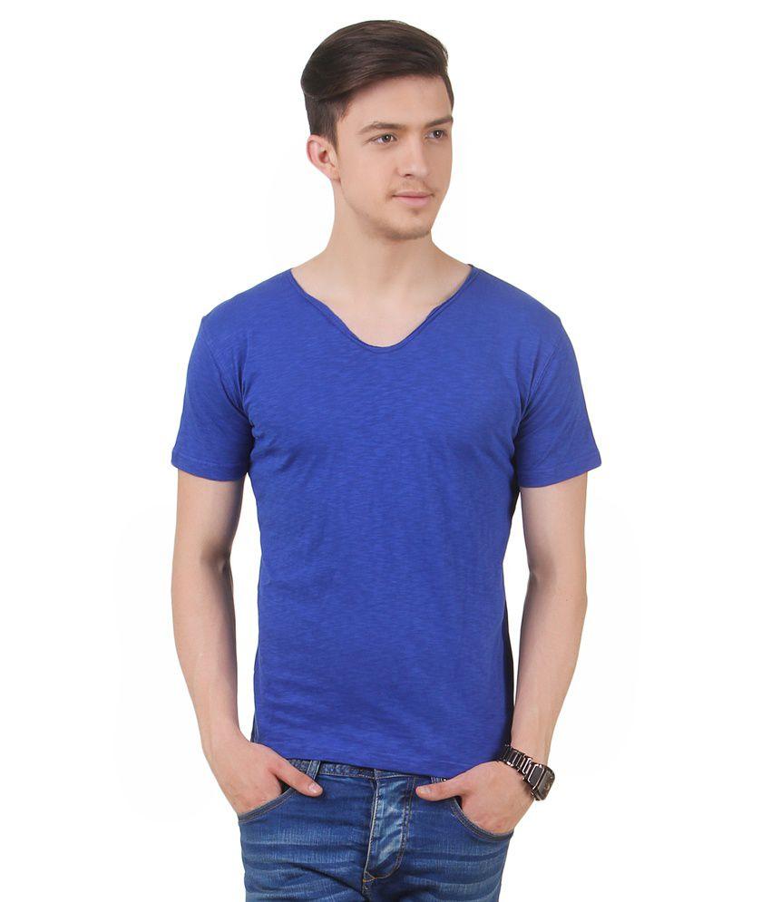 Frost Blue Cotton Blended V-neck T-shirt