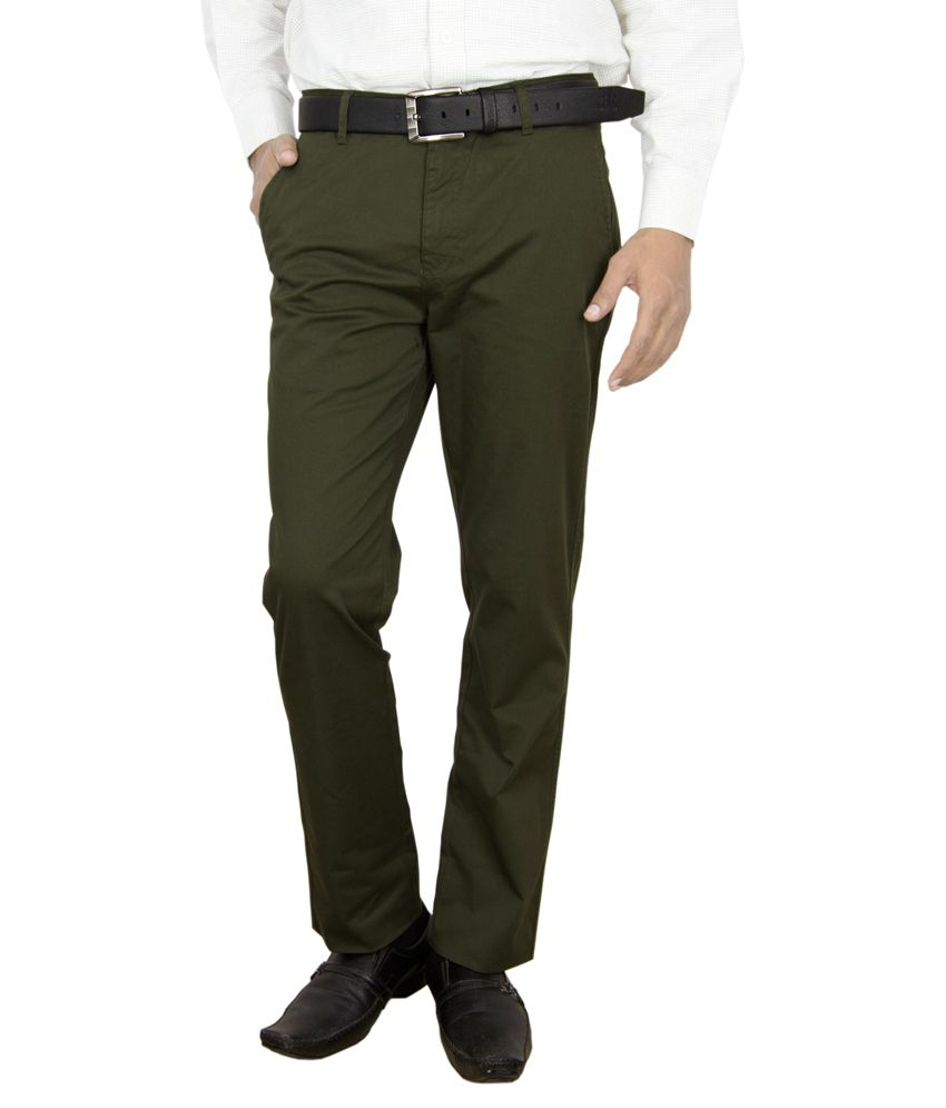 Integration Green Regular Fit Casual Trouser