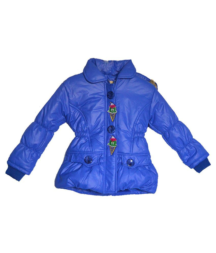 London Girl Blue Lapel Hooded Jackets For Girls