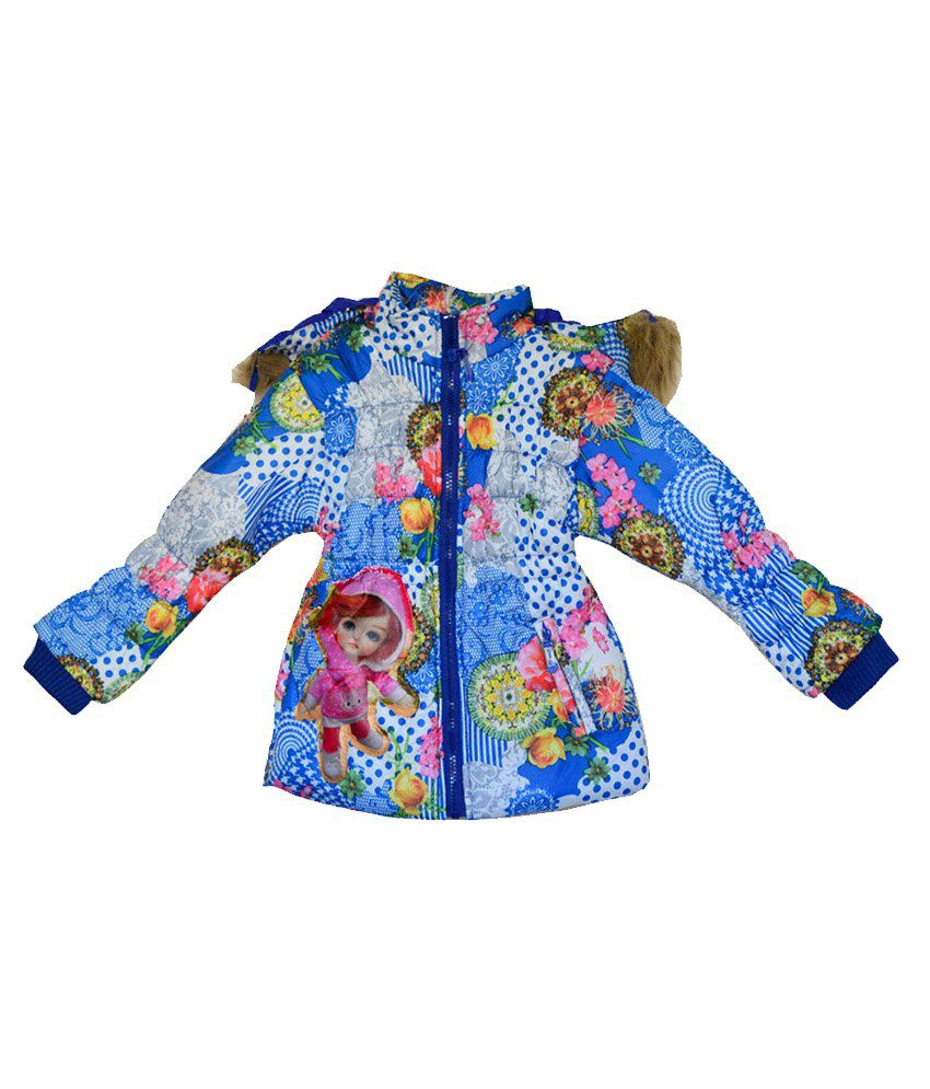London Girl Blue Floral Hooded Jacket