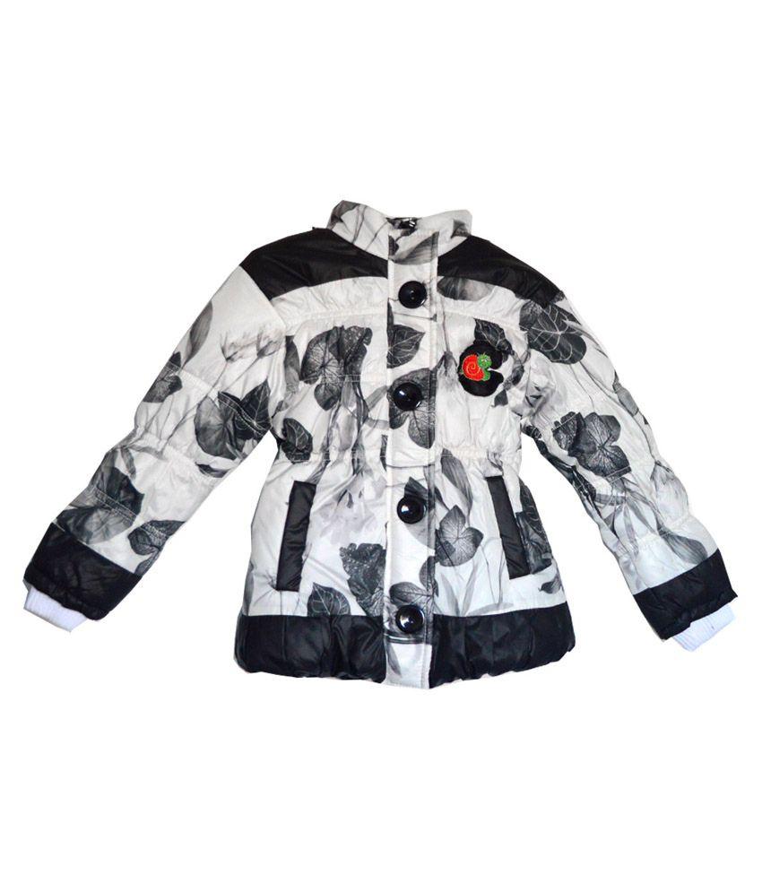 London Girl Black 'N' White Hooded Jackets For Girls