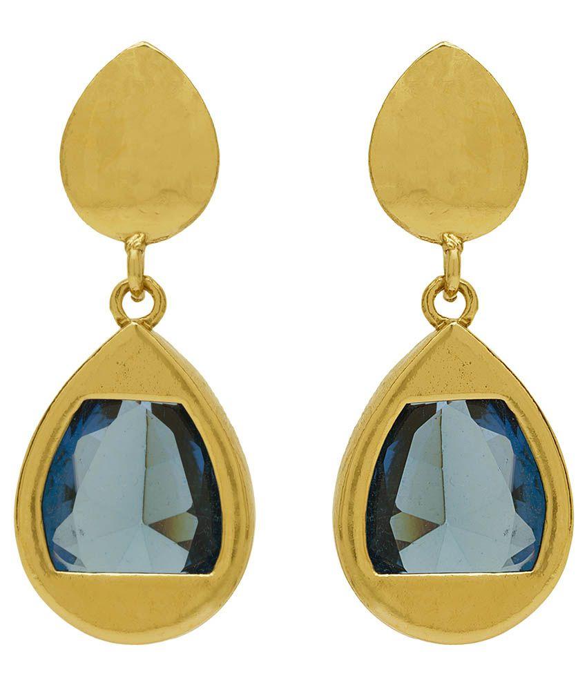 Rajwada Arts Blue Sapphire Theme Drop Earrings