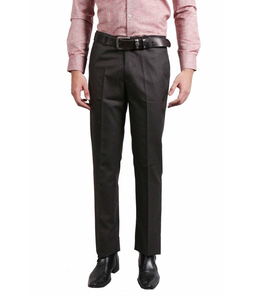 Solemio Black Slim Fit Formal Flat Trousers