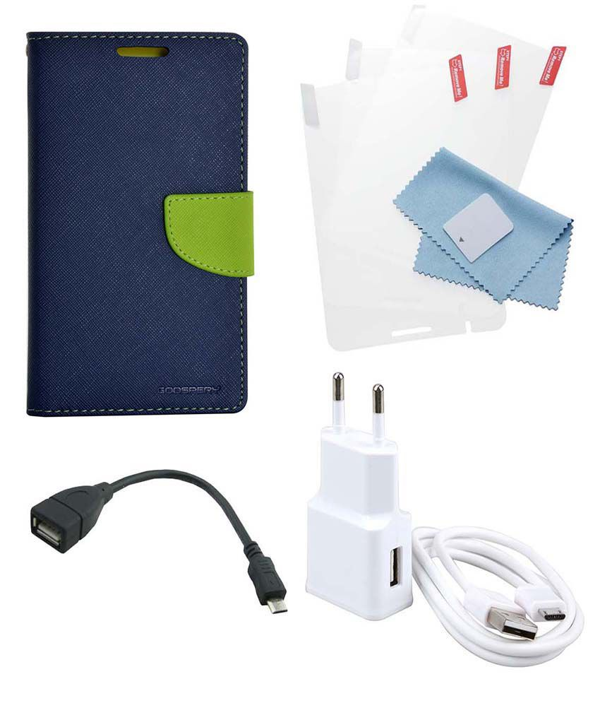Cell Mates Flip Cover For Lenovo A6000 With Screen Guard, OTG and USB Charger