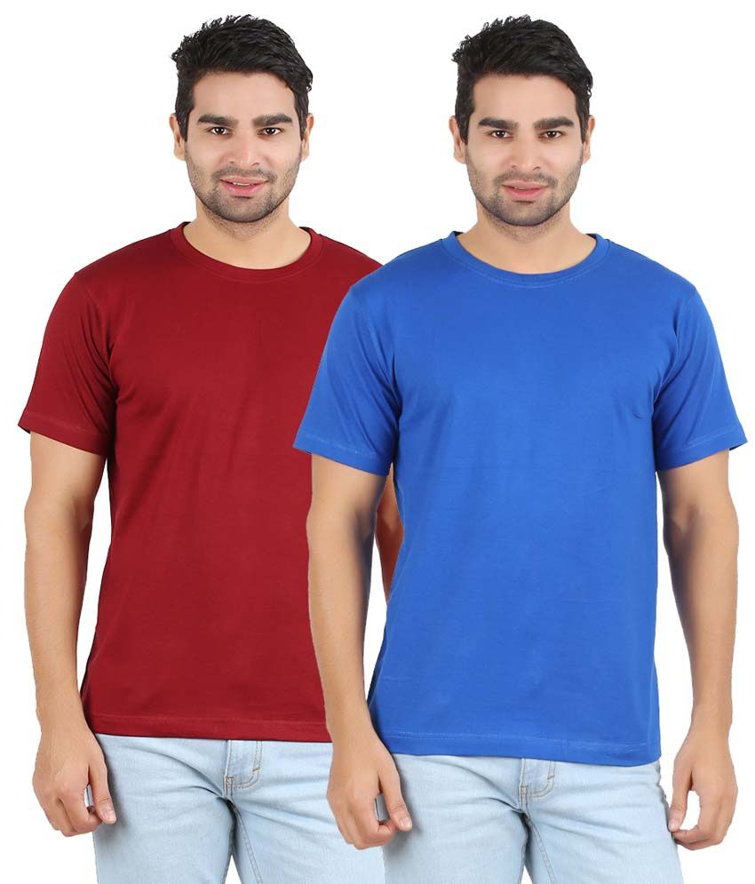 Heartin Beat Maroon & Light Blue Cotton T-Shirt - Pack Of 2