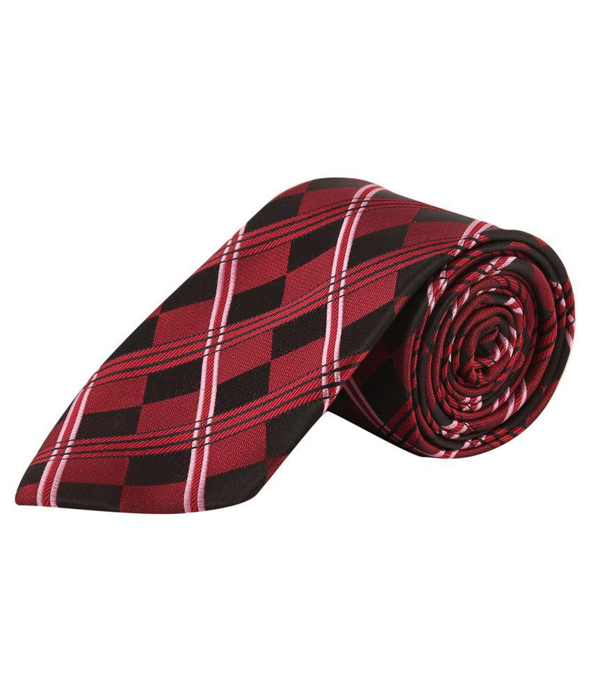 Tie & Cuffs Red Checkered Neck Tie with Cufflink and Pocket Square Gift Set