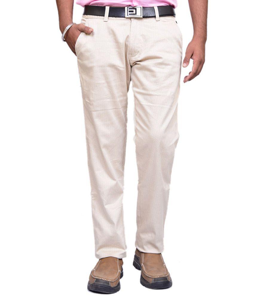 British Terminal Off-White Slim Fit Casual Chinos