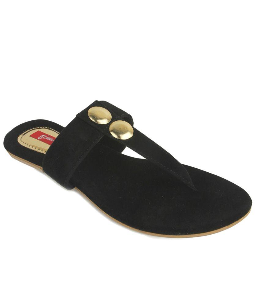 Finesse Black Flat Slippers