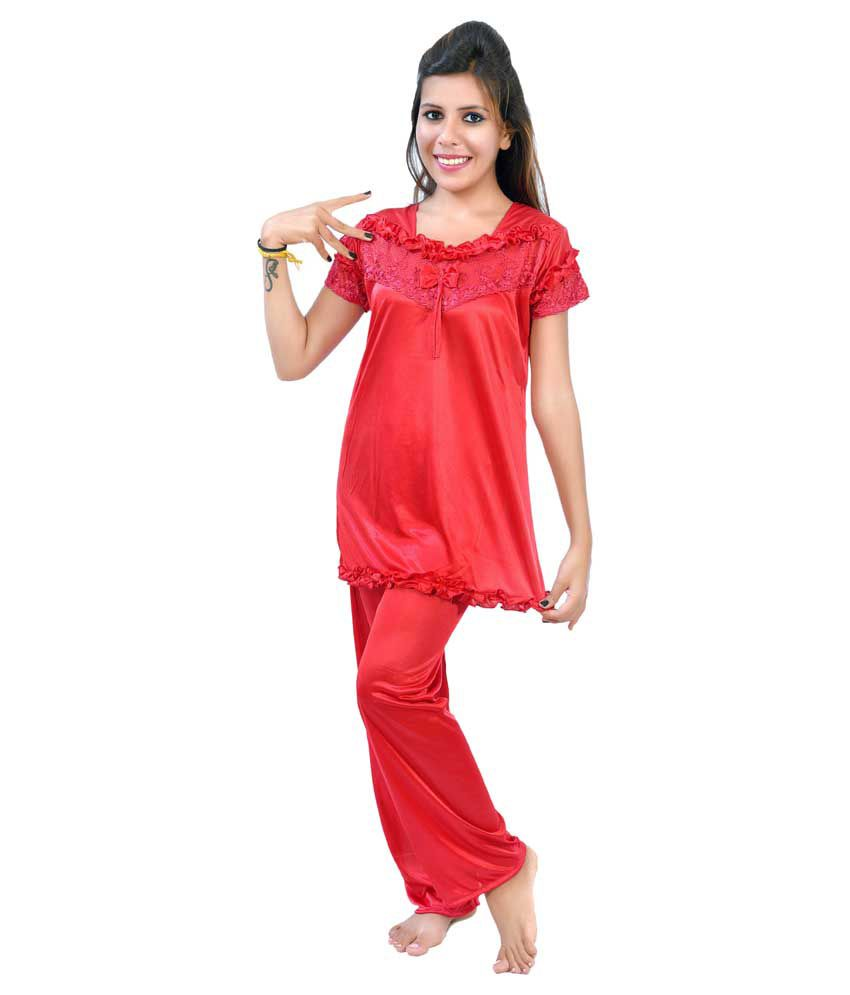 df08829b97c Buy Fashion Zilla Red Satin Nightsuit Sets Pack of 2 Online at Best Prices  in India - Snapdeal