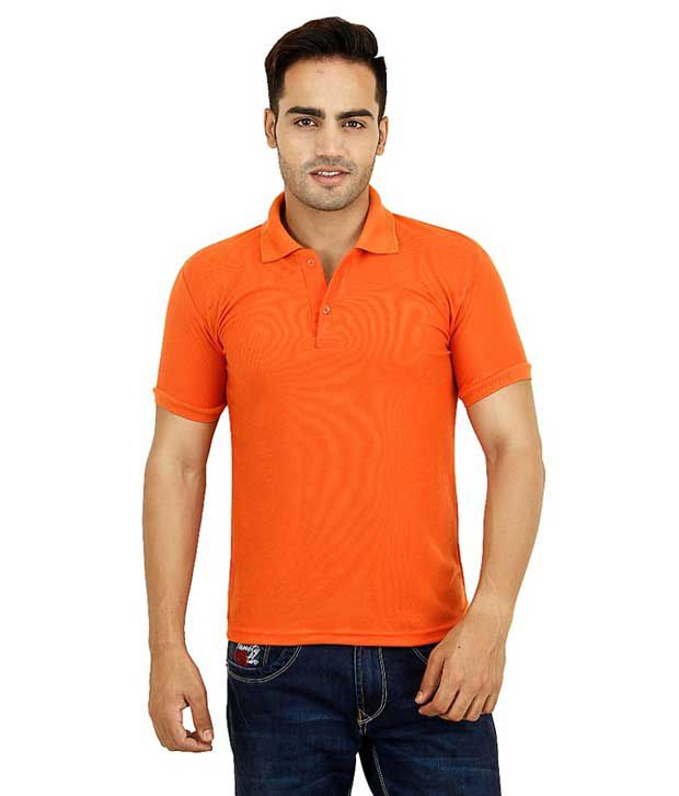 Marketing Power Solutions Orange Half Sleeves Basics Wear Polo T-shirt - Pack Of 2