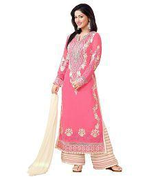 Fashion Storey Peach Georgette Dress Material
