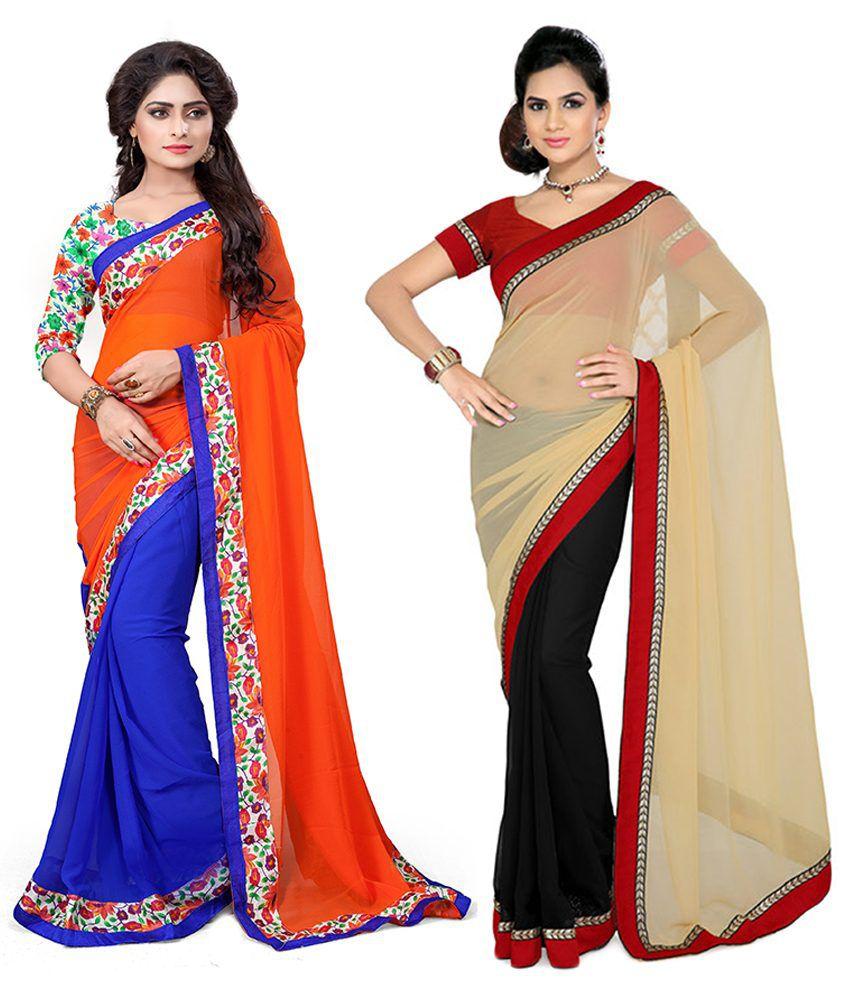 Aashvi Creation Multi Faux Georgette Pack of 2