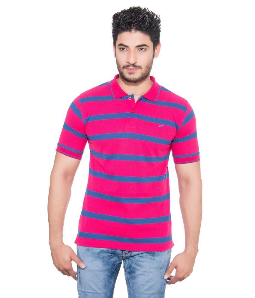 Fabilano Pink Half Sleeves Striper Polo T-shirt