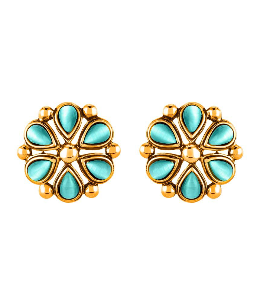 Mahi Monalisa Cats Eye Light Blue Floral Gold Plated Earrings