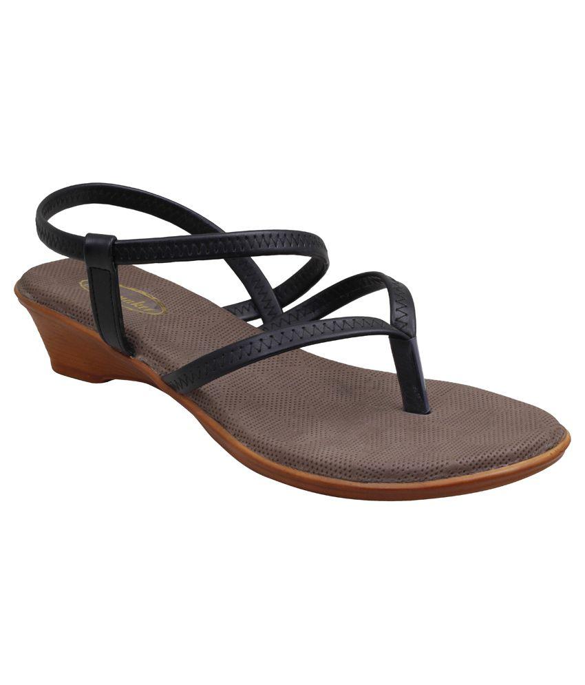 Shoe Maker Black Wedges Heeled Slip-Ons