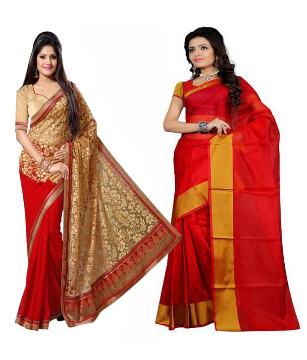 Indianefashion Multi Brasso and Pollycotton Pack of 2
