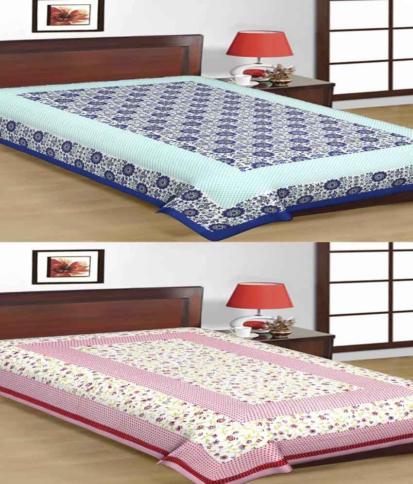 UniqChoice 100% Cotton Jaipuri Traditional Printed 2 Single BedSheet