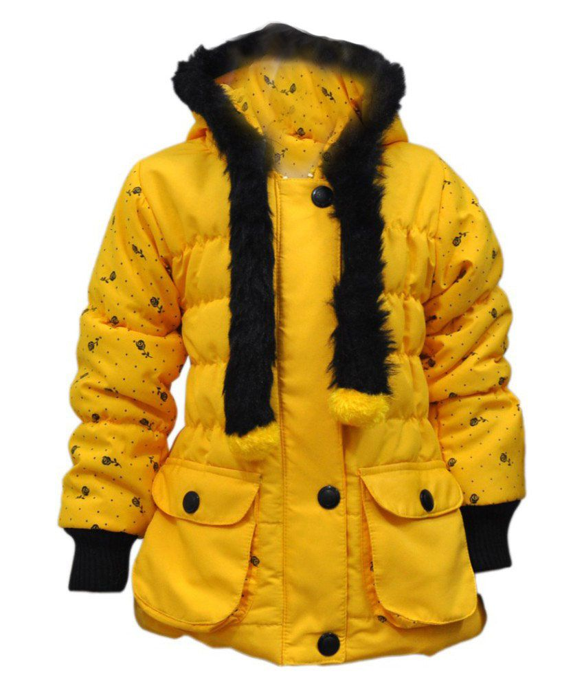 Come In Kids Yellow Acrylic Full Sleeves Padded Jacket