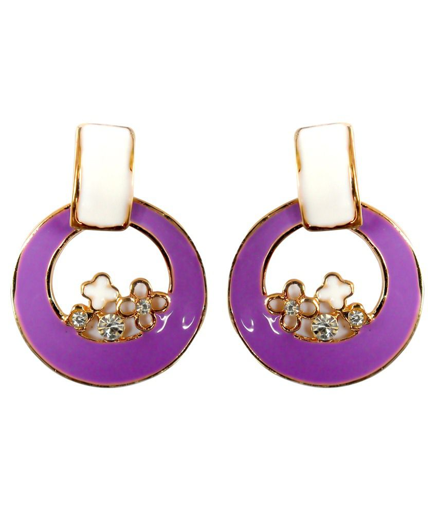 Kamal Jeweller Purple & Golden Alloy Huggies Earrings
