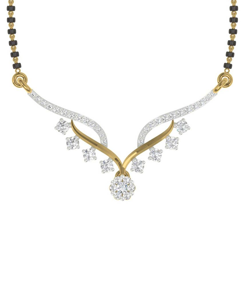 TBZ - The Original 18KT Yellow Gold Traditional Mangalsutra with 0.34cts Diamonds without Chain