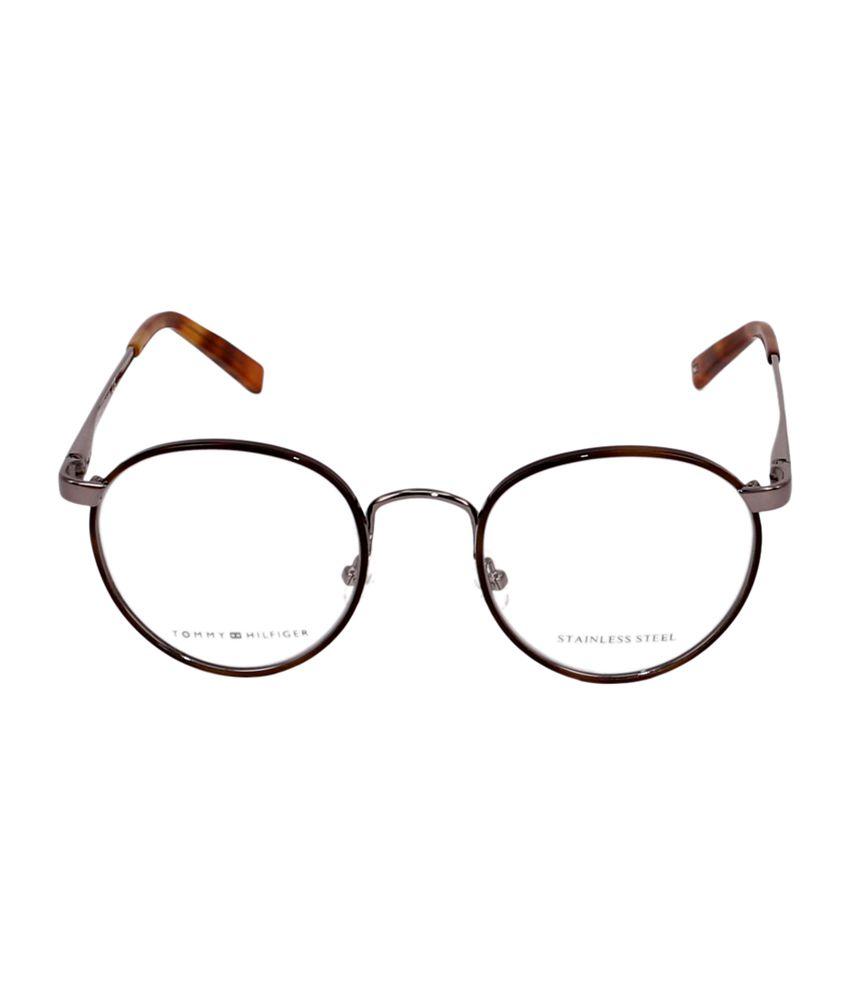 dd23b452fc3 ... Tommy Hilfiger Full Rim Black   Gray Round Frame Eyeglasses for Unisex  ...