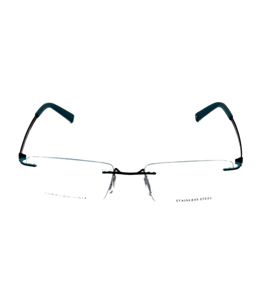 15c6ca68a4 Tommy Hilfiger Rimless Black Rectangle Unisex Frame Eyeglasses - Buy ...