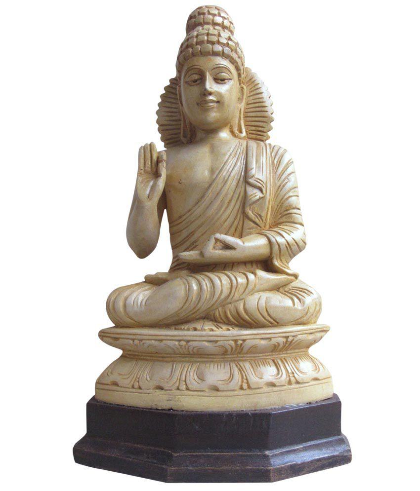Vtl White Wooden Sitting Budha Statue