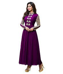 Fashionshopy Purple Faux Georgette Semi Stitched Dress Material