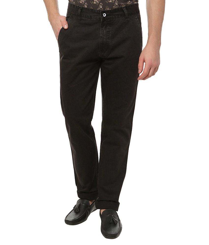 Own Voice Black Regular Fit Casual Flat Trousers