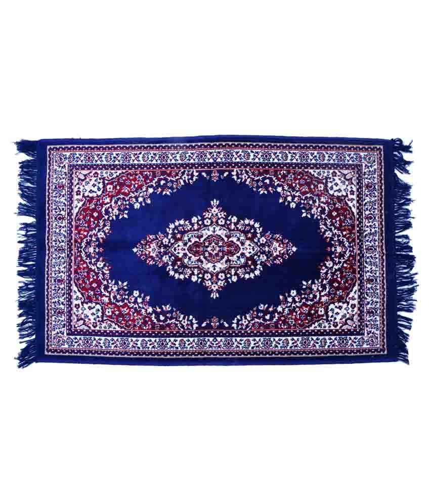 Store 365 Blue Cotton Schenelle Floral Floor Mat