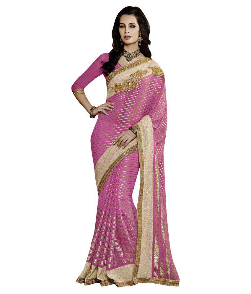 Viva N Diva Pink Pure Georgette Saree