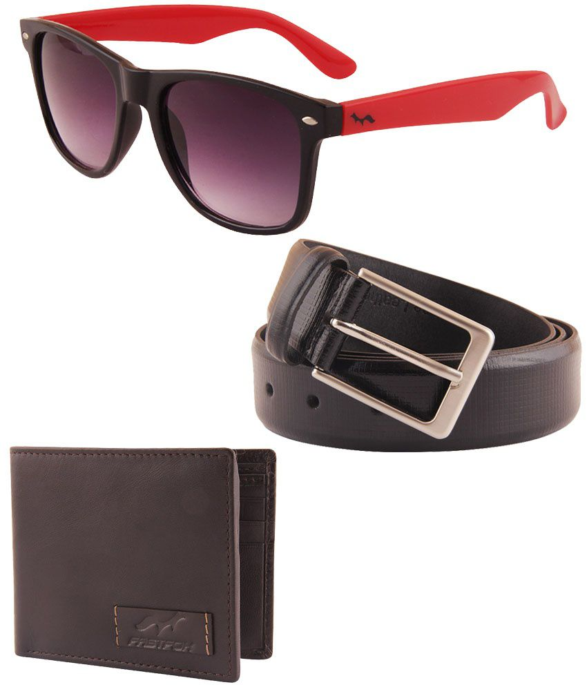 Fastfox Combo Of Black Belt With Wallet And Sunglasses