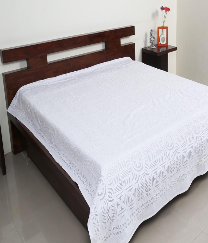 indigenous handicrafts white applique work cotton double bed cover