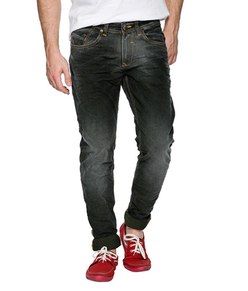 Spykar Mens Black Skinny Fit Jeans