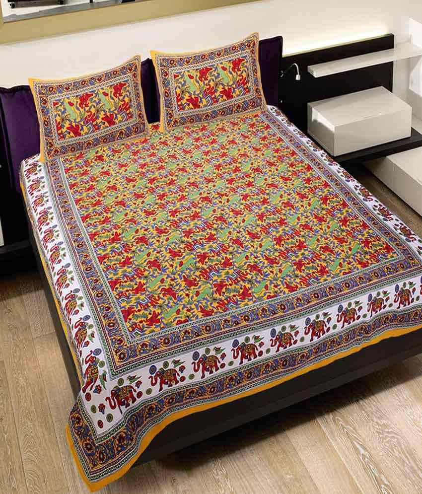 UniqChoice Multi Color Traditional Design Double Bedsheet with 2 pillow Covers