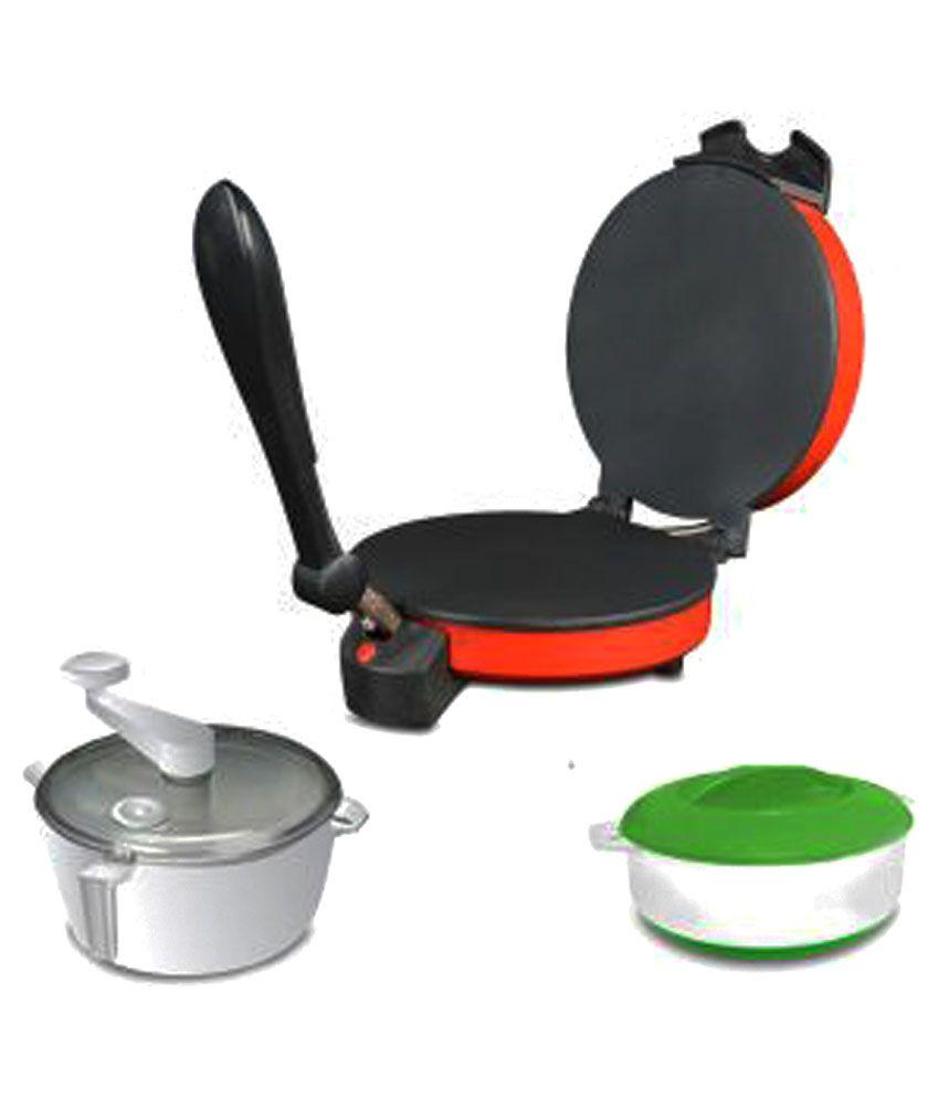 Kitchen Pro Combo of Roti Maker, Atta Maker and Casserole - Red