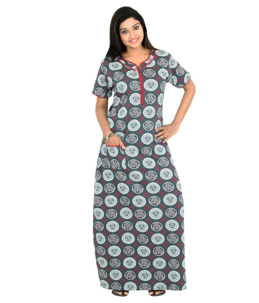 b9a29f6c5a ... Sleeping Story Womens Poly Cotton Floral Printed Nighty (Code - 10383)  finest selection 71c7e  Pommys Gray Cotton Nighty ... speical offer d0882  ae2ad ...