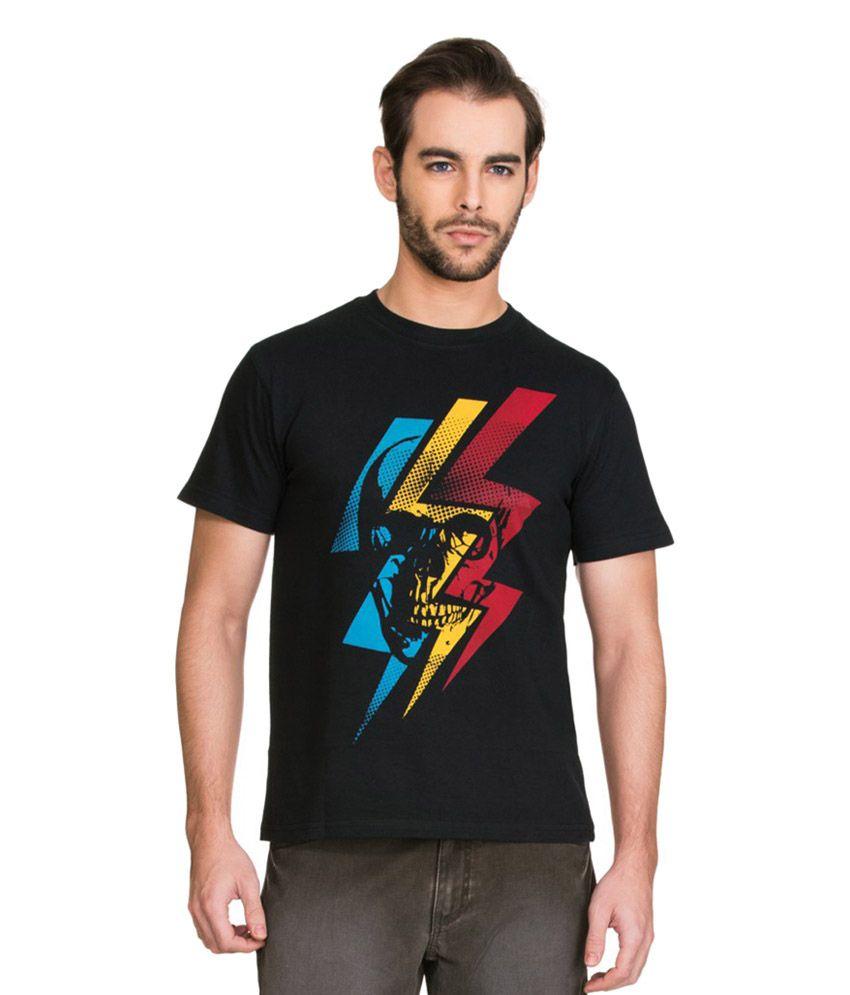Zovi Black Cotton Round Neck Printed T-Shirt