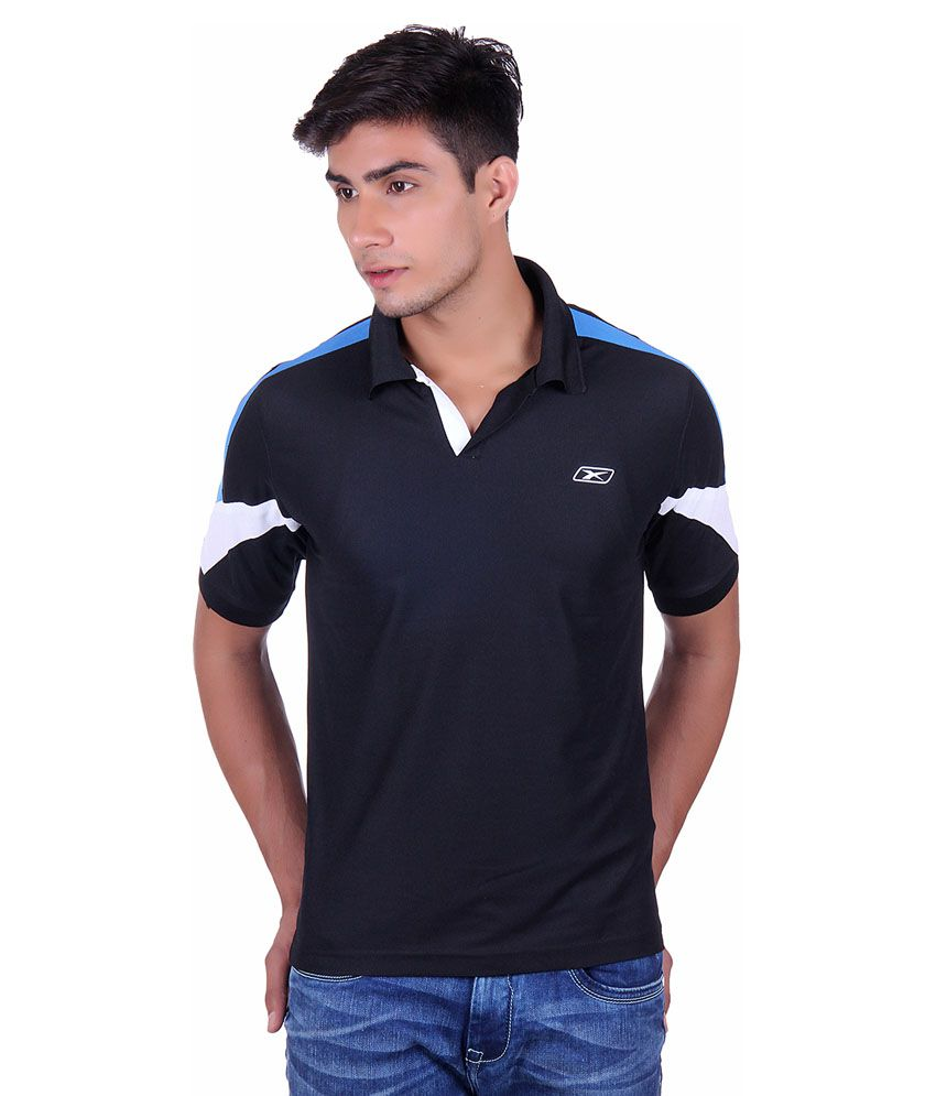 EX10 Black Polyester Sports Polo T-Shirt