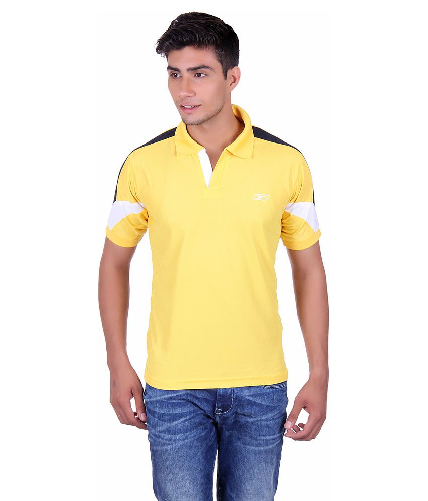 EX10 Yellow Polyester Sports Polo T-Shirt