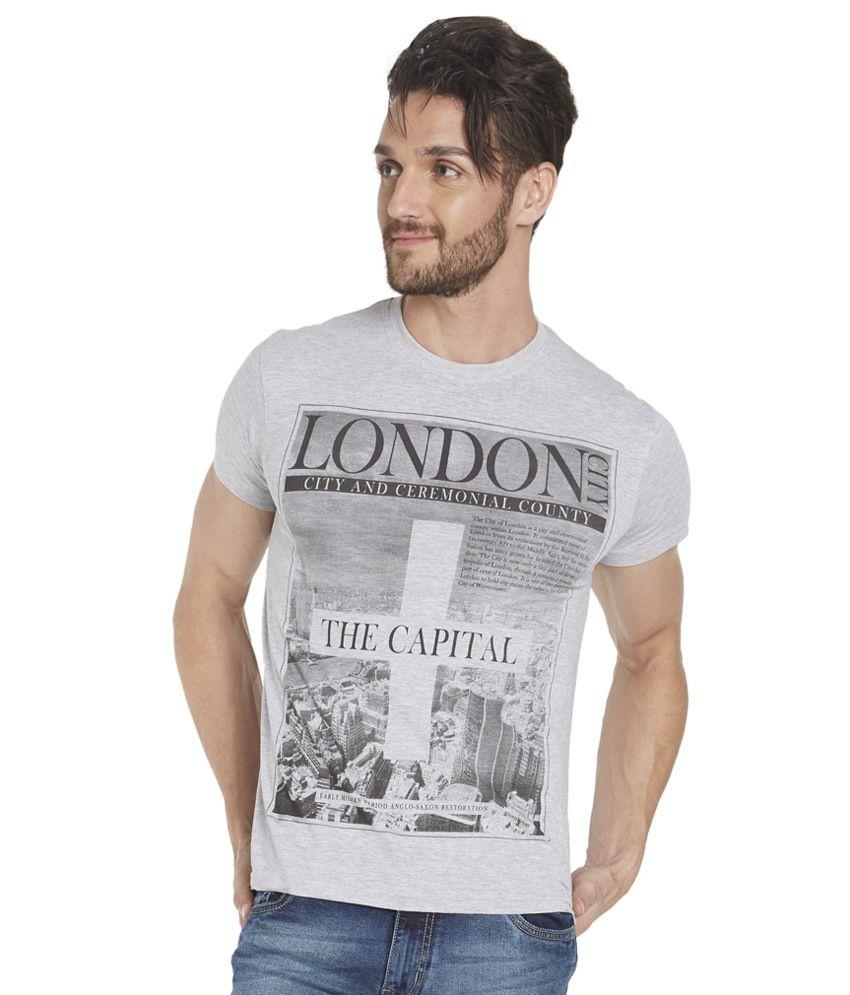 Globus Grey Cotton Half Sleeves T Shirt