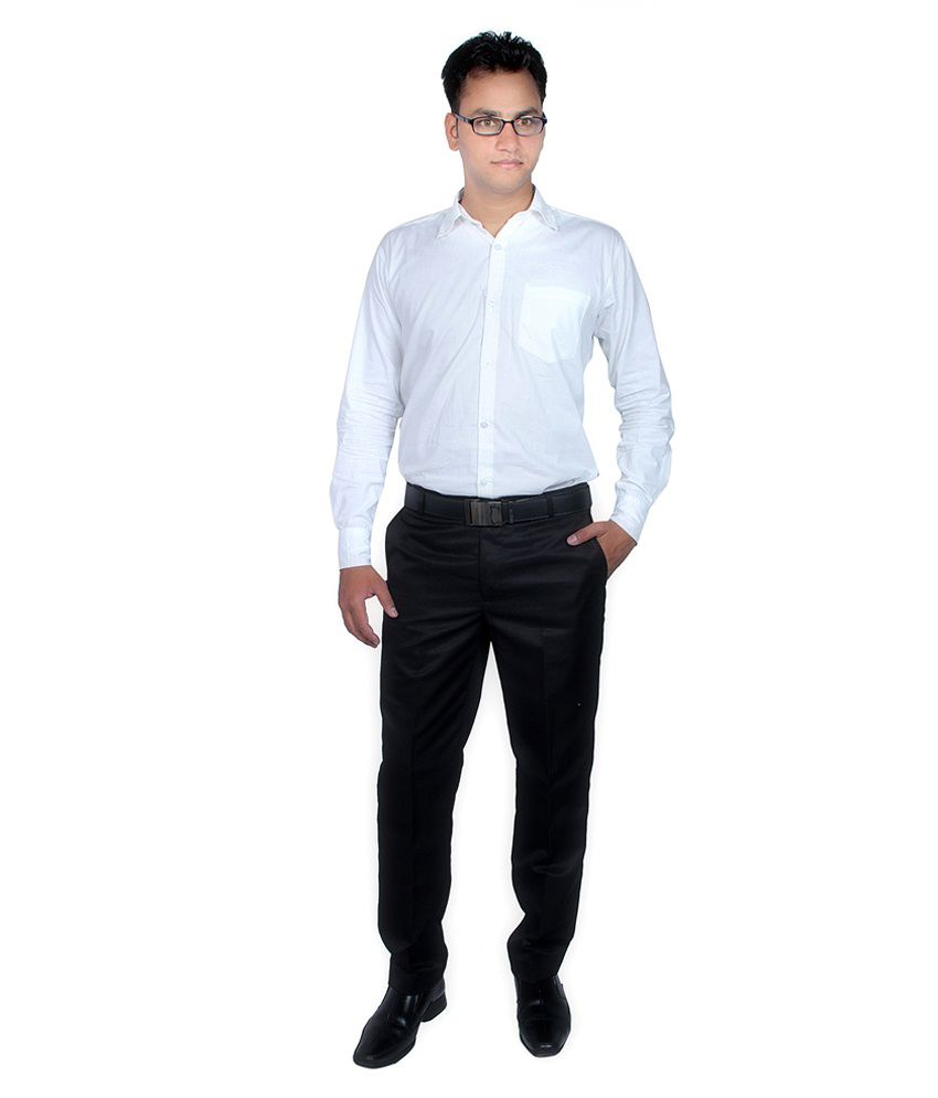 Routeen Black Slim Fit Formal Pleated Trouser