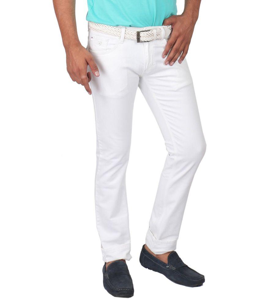 Streetguys White Cotton Blend Slim Fit Jeans