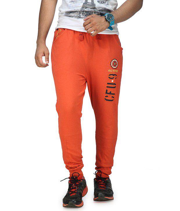 Cult Fusion Orange Cotton Trackpants